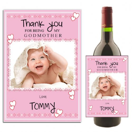 Personalised Godmother Thank you Wine / Champagne Bottle PHOTO Label N27